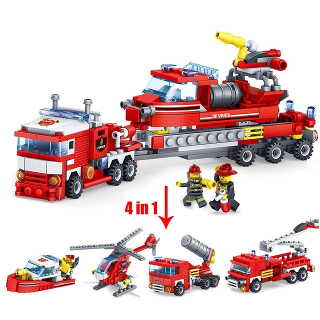 Kockice Legoe 4 u 1 Fire Fighting Car Helicopter boat