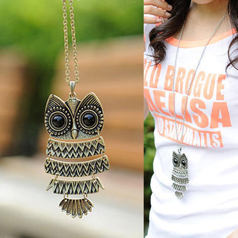 Trendy Vintage Owl Pendant Necklace in Bronze or Silver