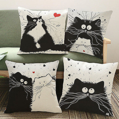 "Cat Pillow Cover 18""x18"""