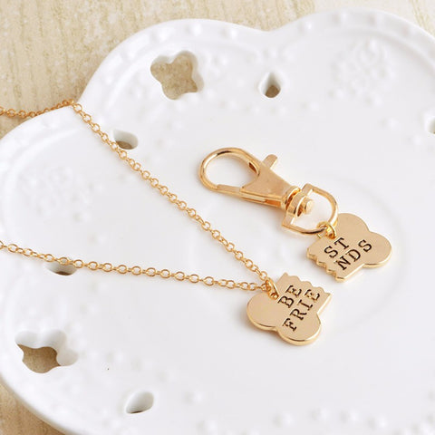 2pcs/set in Gold or Silver: Dog Bone Best Friends Charm Necklace & Keychain
