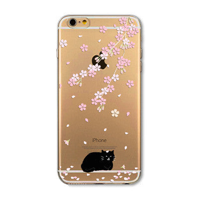 Cute Cat Case for Iphone 6 6S Transparent Soft