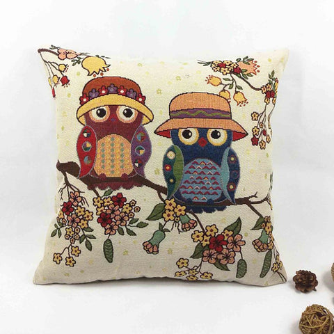 Owl Pillow Cover- 17x17'' Linen & Polyester