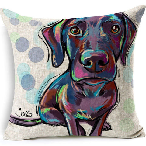 "Dog Pillow Cover 17"" x 17""- Cotton Linen w/ hidden zipper"