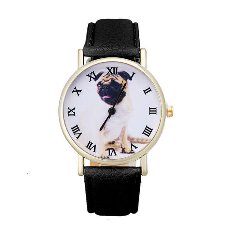 Pug Dog Leather Quartz Watch