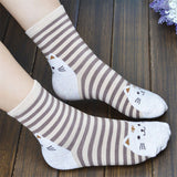 Striped Purrrfect Cat Socks for Women
