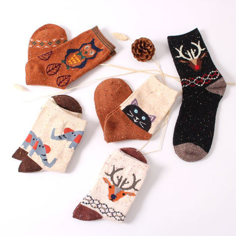 Cozy Cotton Socks: cat, deer or owl