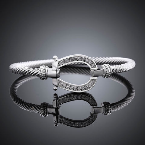 925 stamped silver plated Horse Shoe Bangle Bracelet