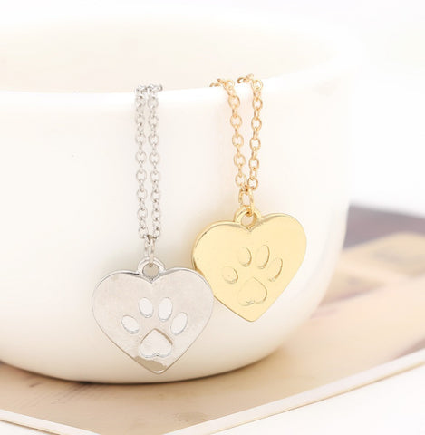 Kitty Cat Paw Heart Pendant Necklace