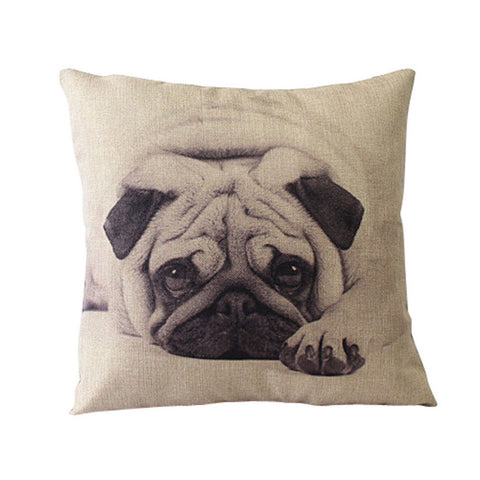 Pug Linen Pillow Cover