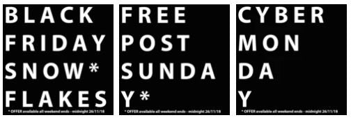 Black Friday, Free Post Sunday, Cyber Monday