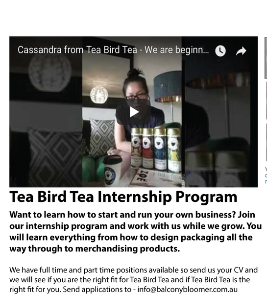 Tea Bird Tea Internship Program
