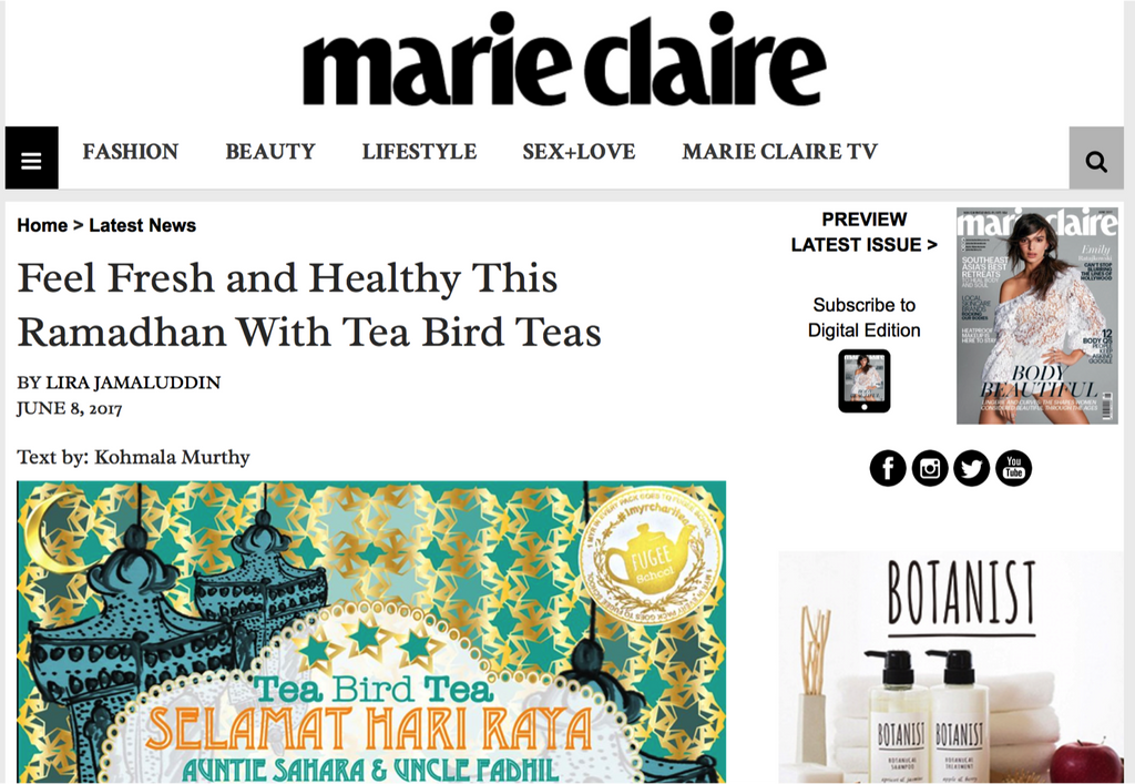 Marie Claire feature on Tea Bird Tea  Raya hydration packs