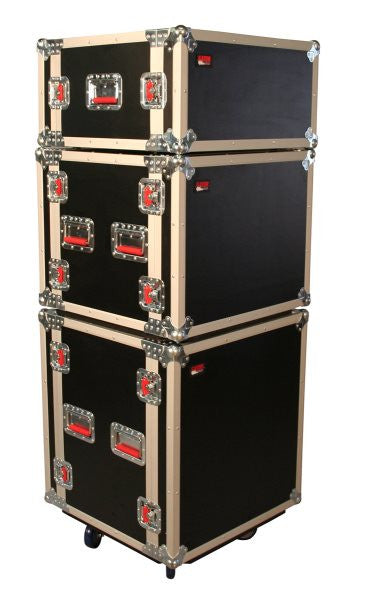 Gator Cases GTOURSHK8CAS 8U Shock Audio Road Rack Case w/ Casters
