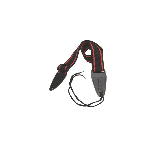 On Stage GSA10BKRD Guitar Strap with Leather Ends (Black with Red Strips)