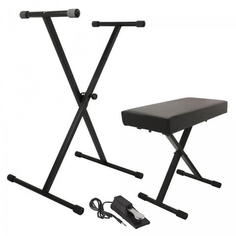 On Stage KPK6550 Keyboard Stand and Bench Pack w/ Keyboard Sustain Pedal - Image 1