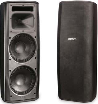 "Dual 8"" High-Output Two-Way Surface Speaker with 70/Image 100V Transformer and 8ê bypass - Black - Image 1"