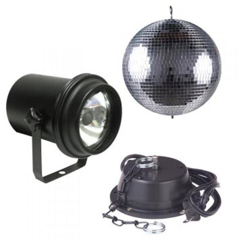 "American DJ M600L 16"" mirror ball package w M-101 Motor, UL Pinspot with lamp.                                         - Image 1"