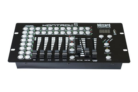 Blizzard Lighting KONTROL5 10-channel, 5 fader DMX controller. 16 fixture selection buttons, 8preset