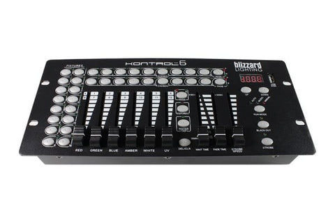 Blizzard Lighting KONTROL6 12-channel, 6 fader DMX controller. 16 fixture selection buttons, 9preset