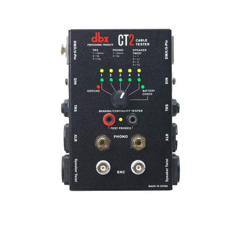Dbx DBXCT2 Cable tester w/ many common connectors such as Speaker Twist,XLR,Phono,BNC,DIN,TRS,TS,DM