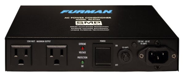 Furman AC215A 15A Advanced Power Conditioner, 2 Outlets, SMP W/Auto Reset EVS, 3.3 Ft Cord