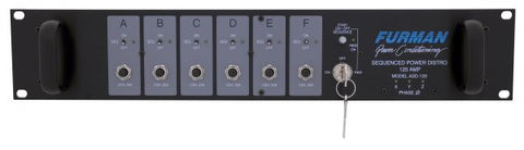 Furman ASD12020 120A Sequenced Power Distro, (6) 20A 120V Circuits,  240V Or 3A 208V Input, 2Ru