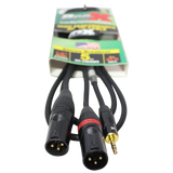 5 Ft. 3.5mm Mini TRS-M to Dual XLR3-M High Performance Audio Y Cable
