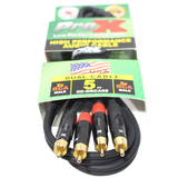 5 Ft. Unbalanced Dual RCA-M to Dual RCA-M High Performance Audio Cable