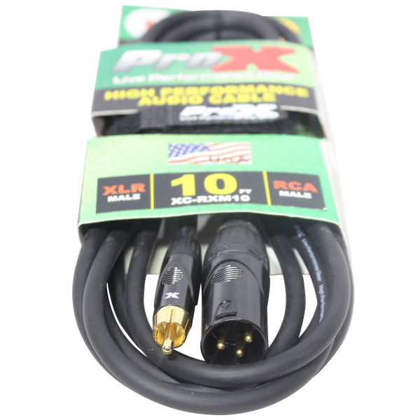 10 Ft. Unbalanced RCA to XLR3-M High Performance Audio Cable