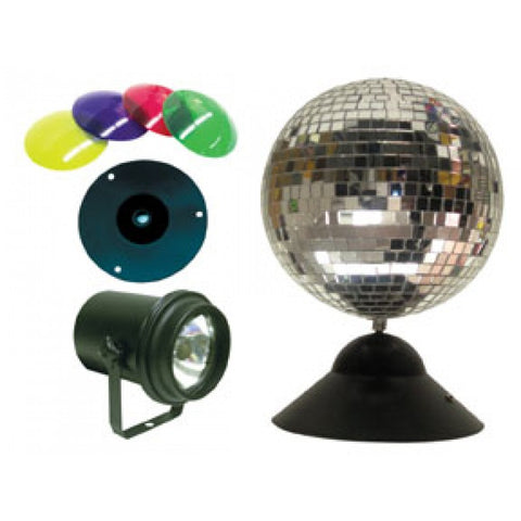 "American Dj MB8COMBO 8"" mirror ball package with PL-1000, M-DCBASE, 4 x CL 100. Colorlenses(red,"