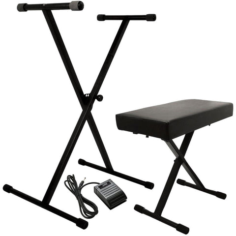 On Stage KPK6520 BB Keyboard Stand and Bench Pack with Sustain Pedal - Image 1
