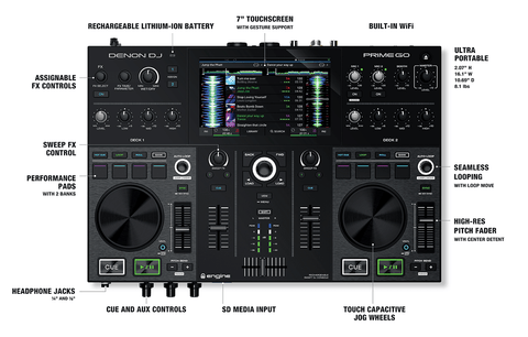 Denon DJ Prime Go - 2 Deck Rechargeable Smart DJ Console with 7
