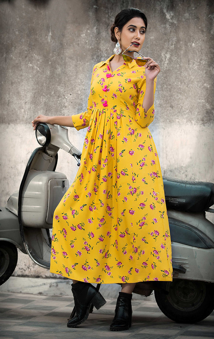 Yellow Pink Floral Maxi Dress