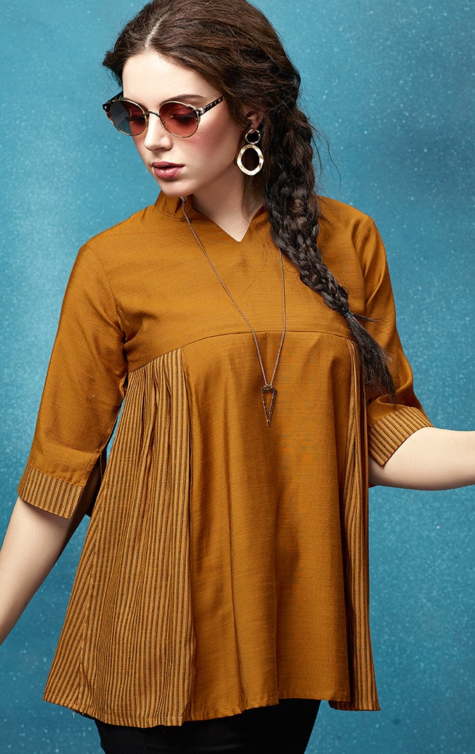 Brown flared top with Striped details