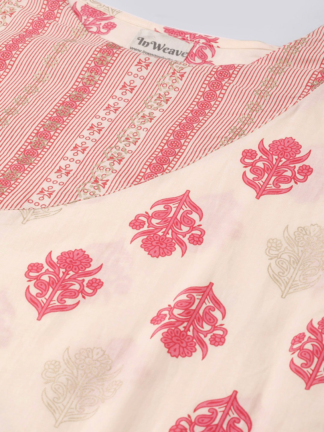 Cream Pink Patchwork Kurta