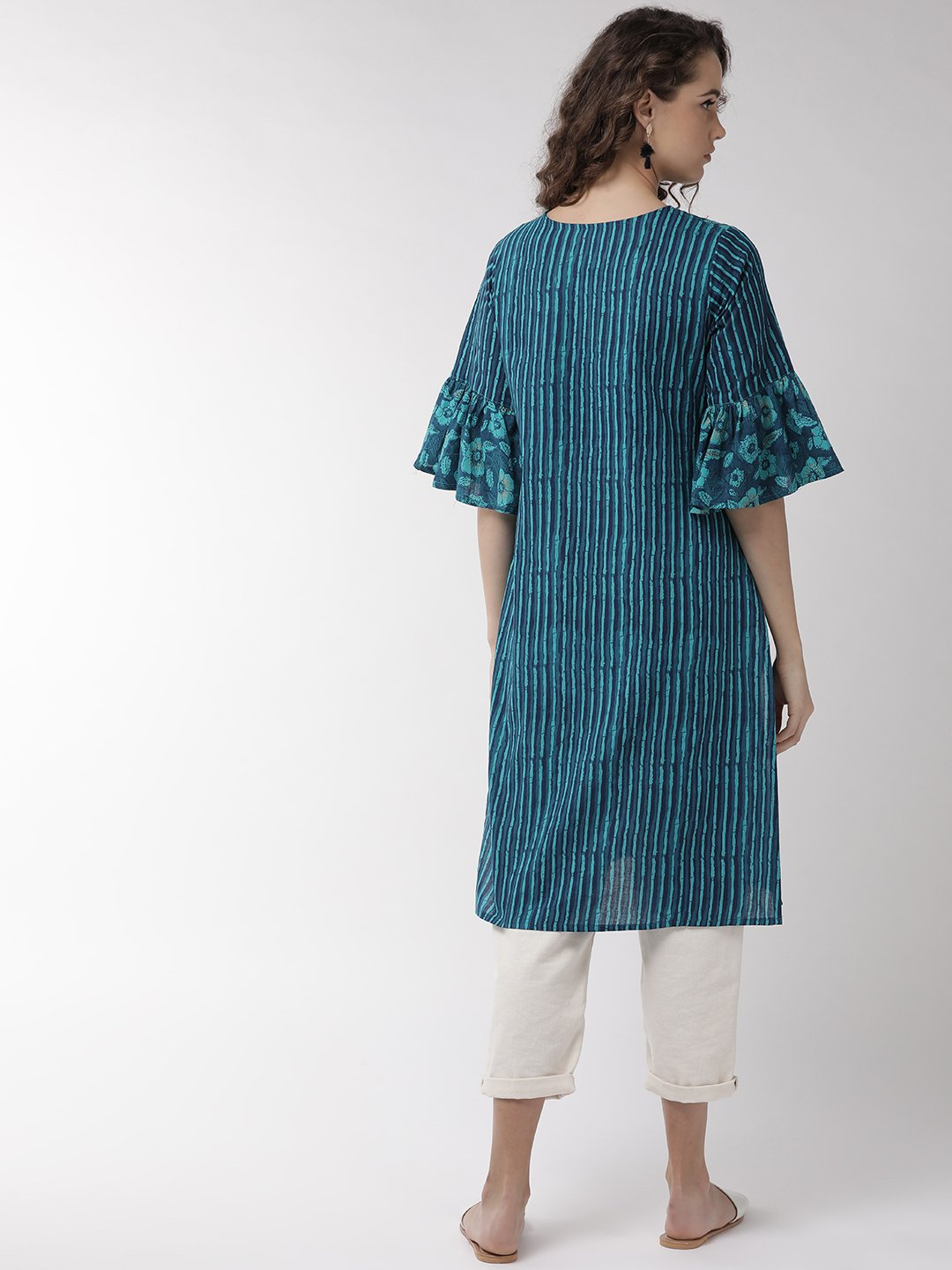 Bottle Green Patch Work Kurta