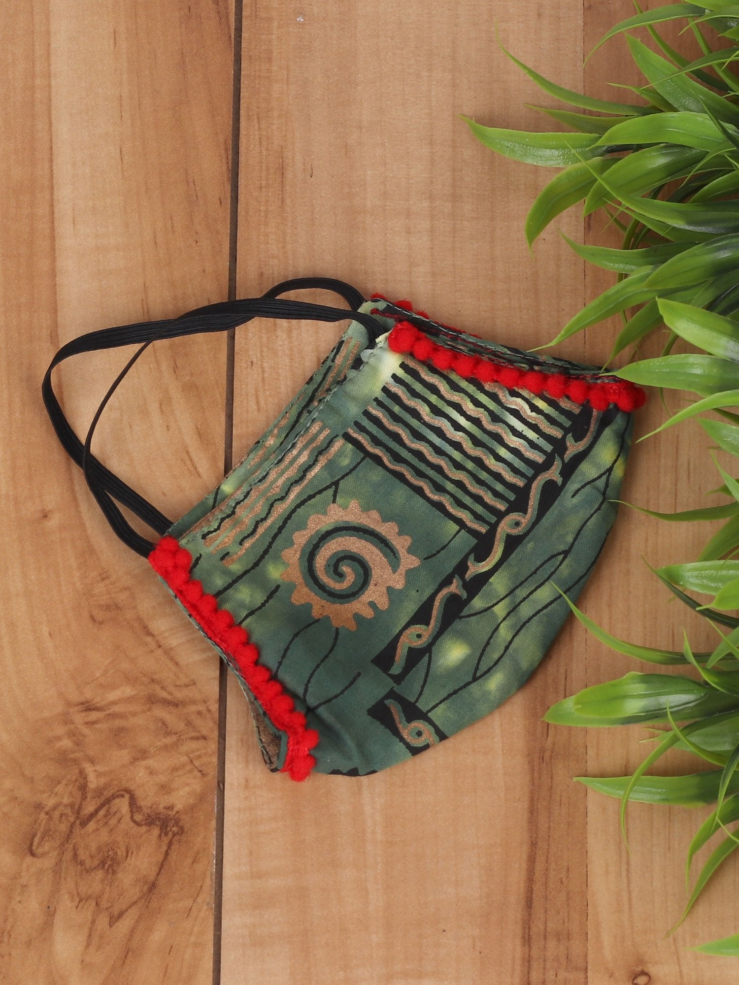 Green Khaddi Print Mask With Lace