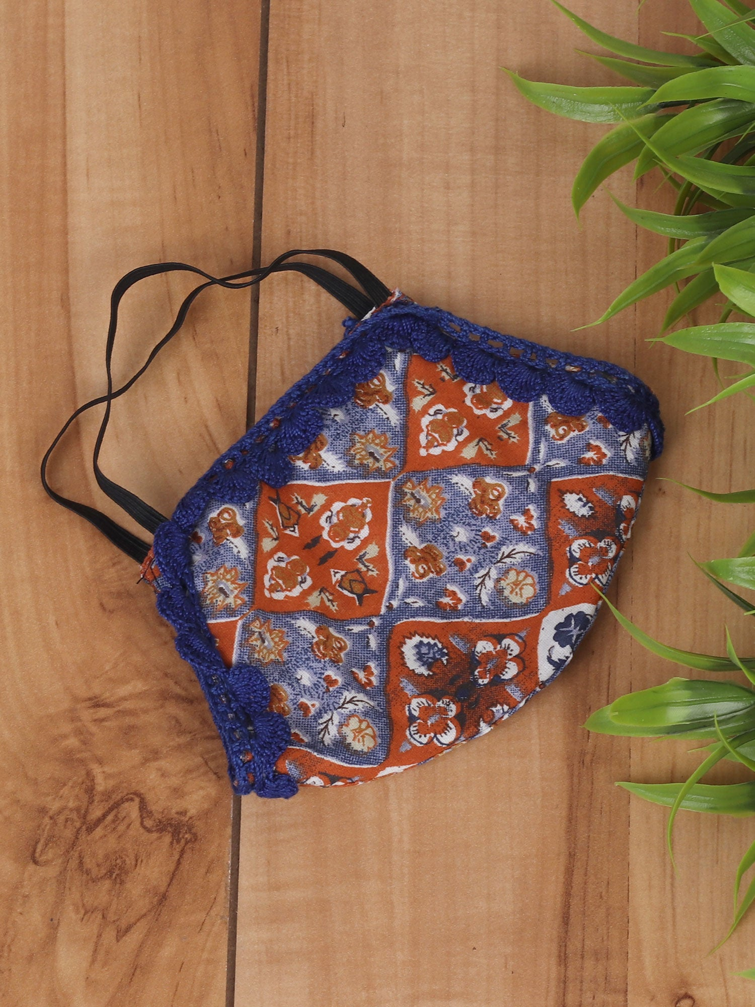 Blue Rust Mask with Lace