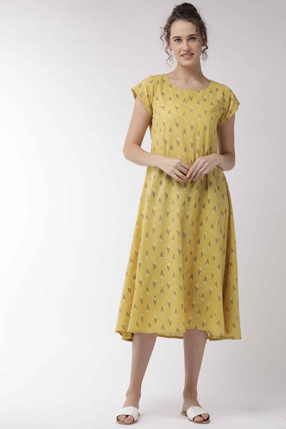 Mustard Cape Sleeve Dress