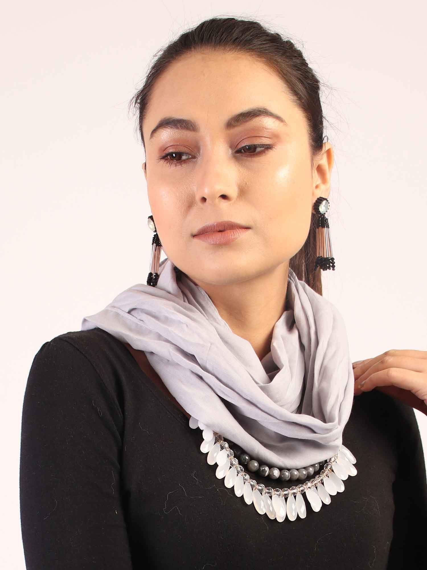 Grey Infinity Scarf with Beads