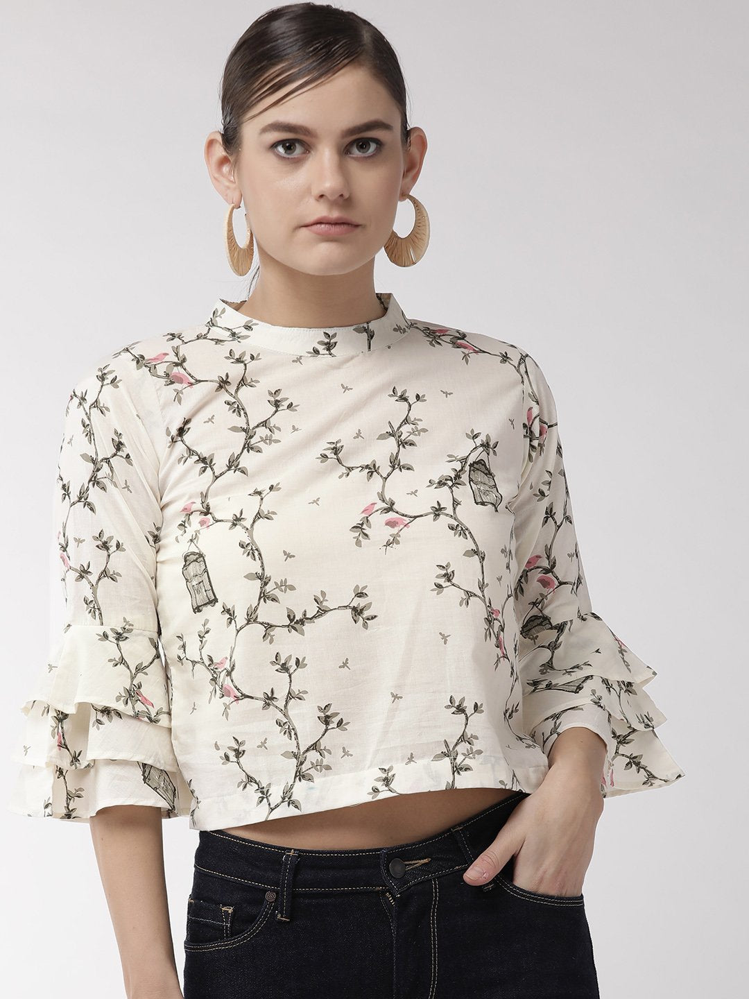 Off White Nest Crop Top
