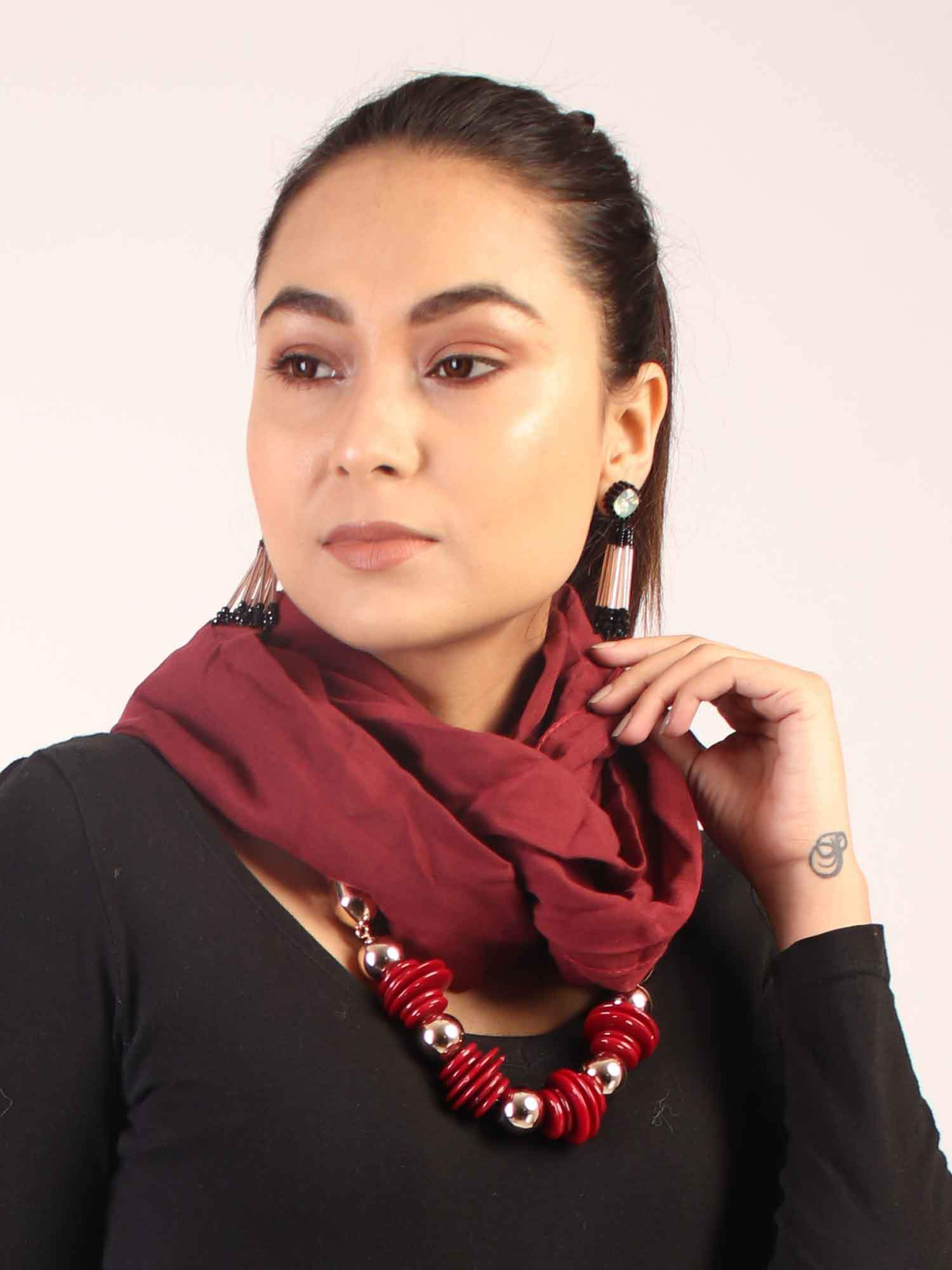 Maroon Infinity Scarf with Beads