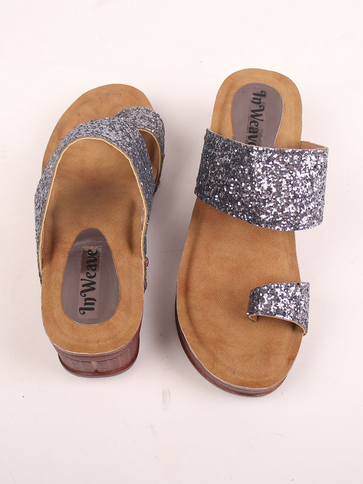 SEQUIN STUDDED WEDGES IN METALLIC GREY