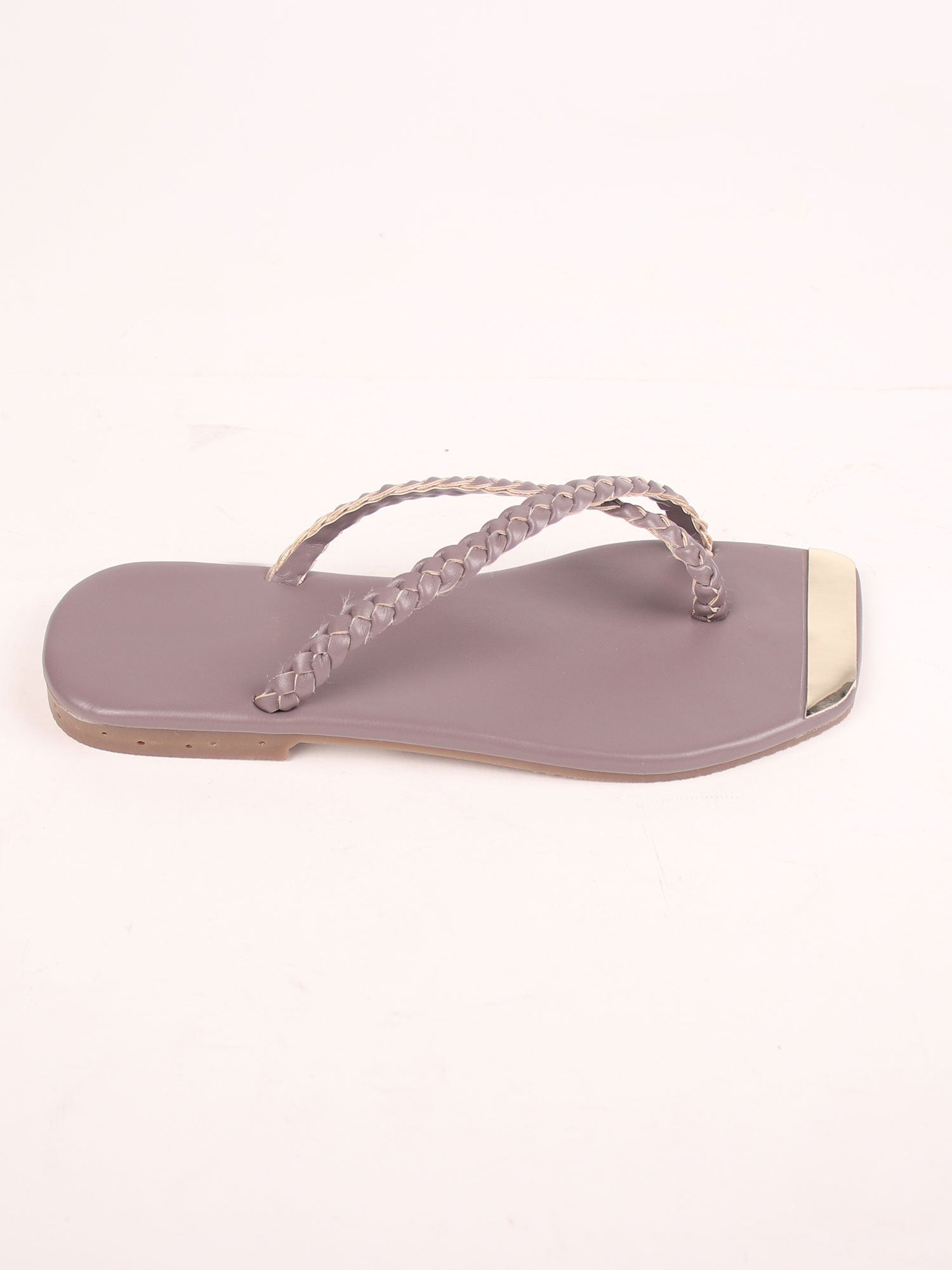 BRAIDED FLATS IN LAVA GREY