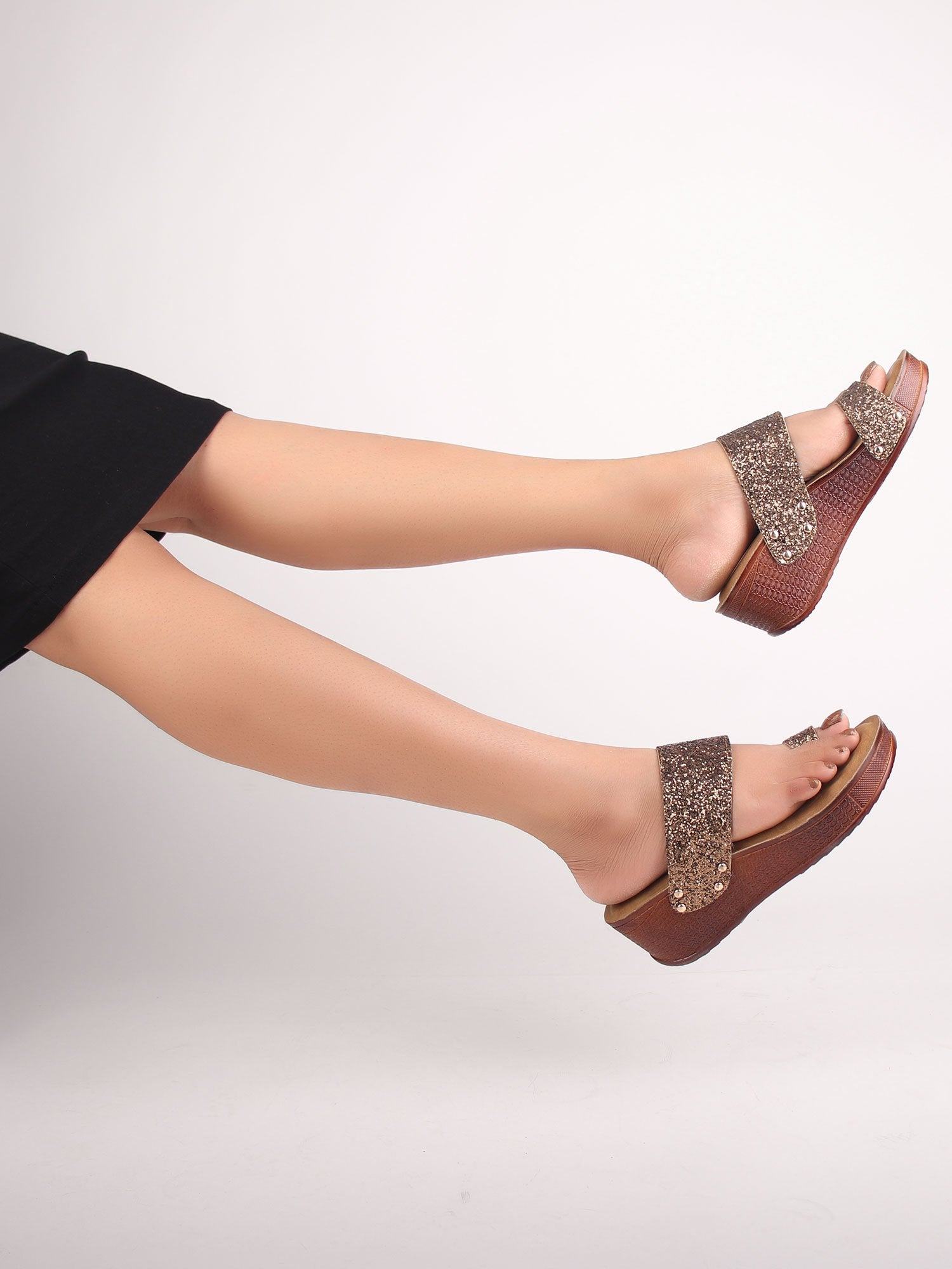 BRONZE SEQUIN STUDDED WEDGES