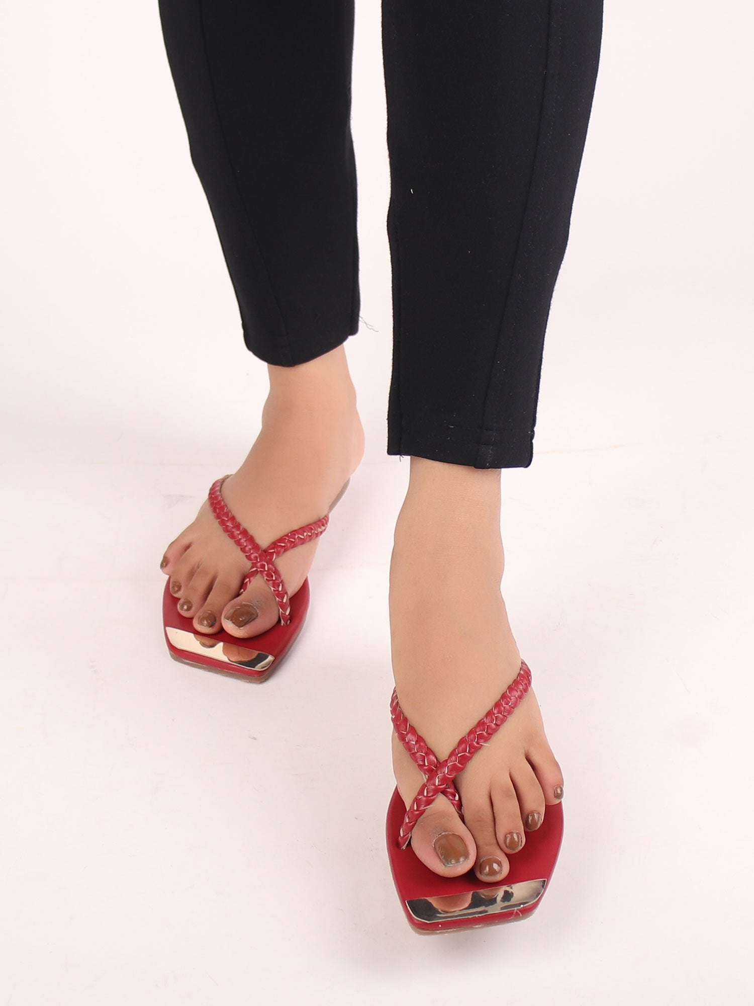 BRAIDED MARSALA FLATS