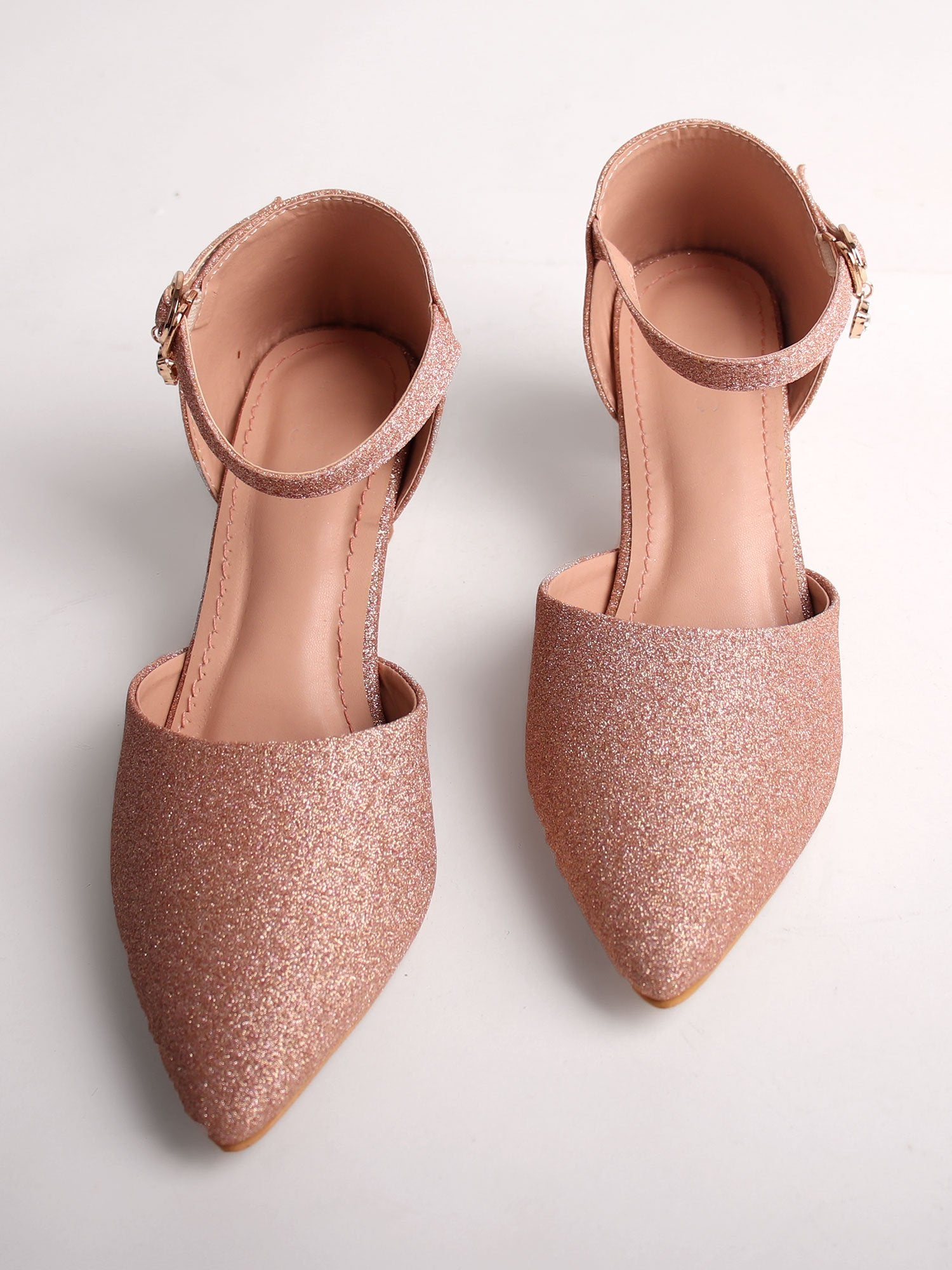 SHIMMERY ROSE GOLD KITTEN HEELS