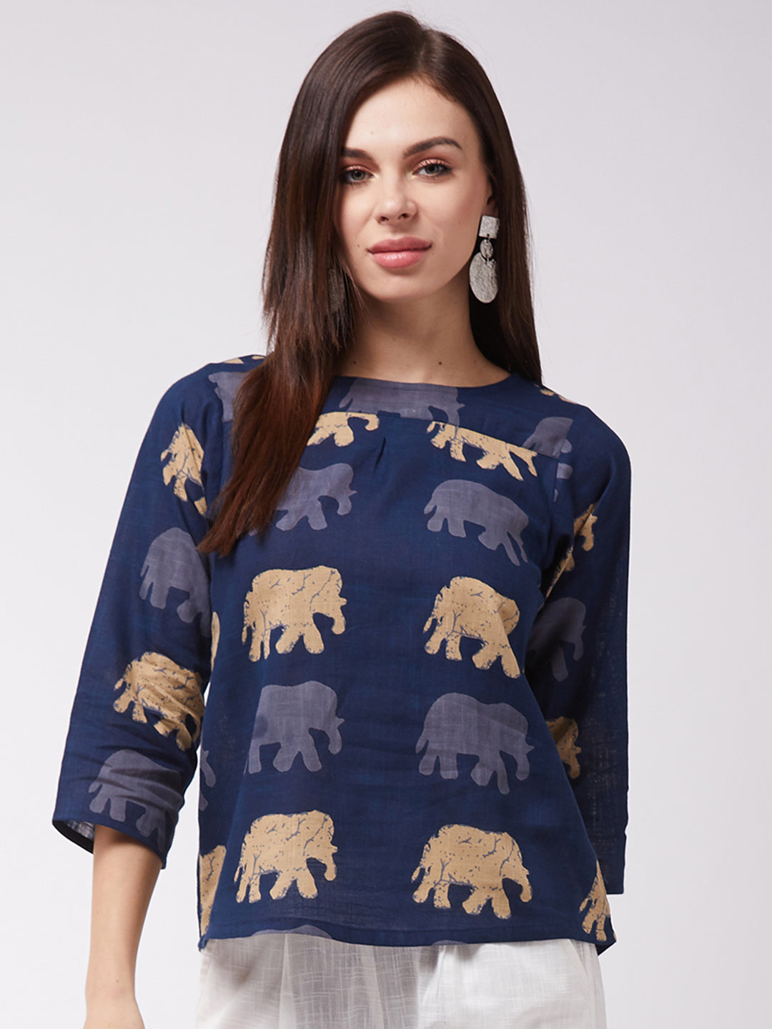 Elephant Print Blue Top