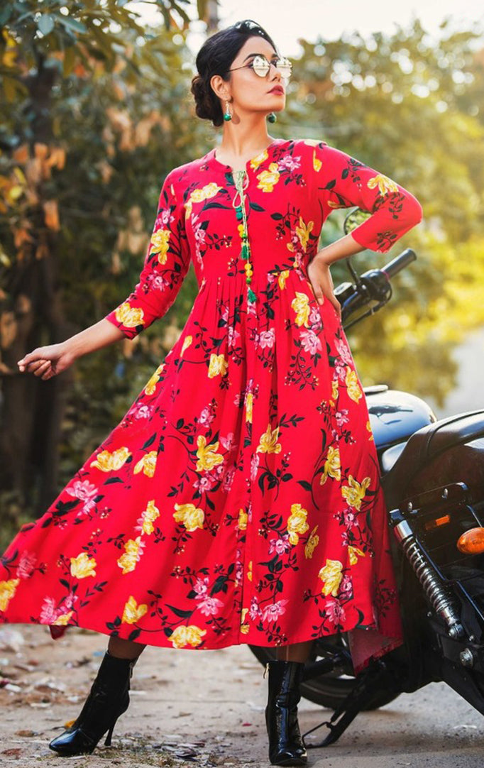 Bright Red Floral Maxi Dress
