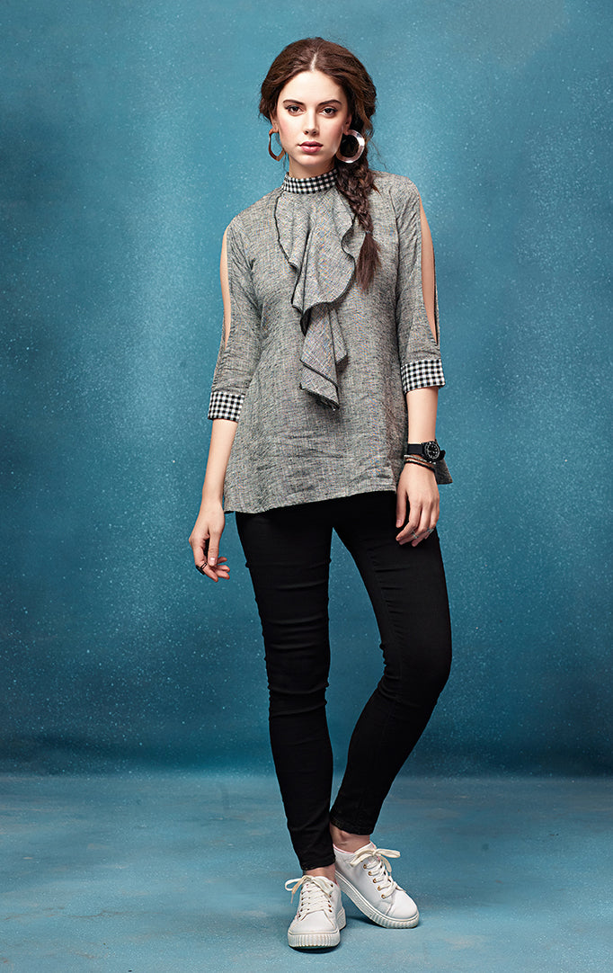 Ash-Grey Top with Checkered details